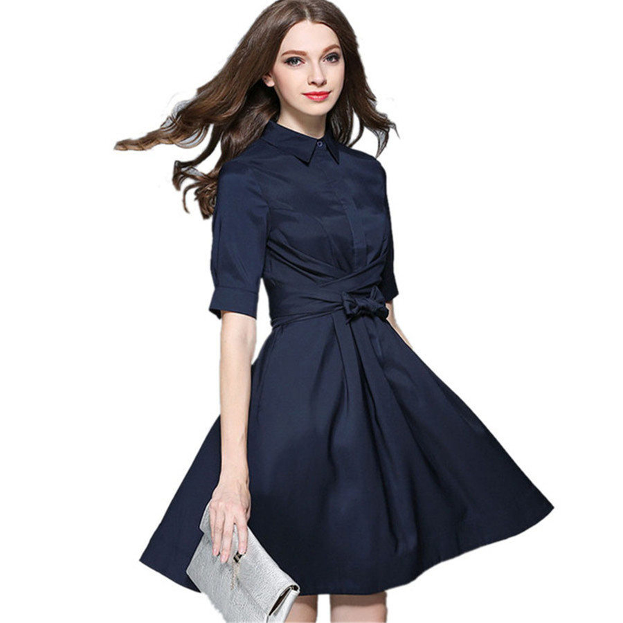 2017 New Fashion European Style Autumn Shirt Dress Women Half Sleeve Elegant A Line Dresses With
