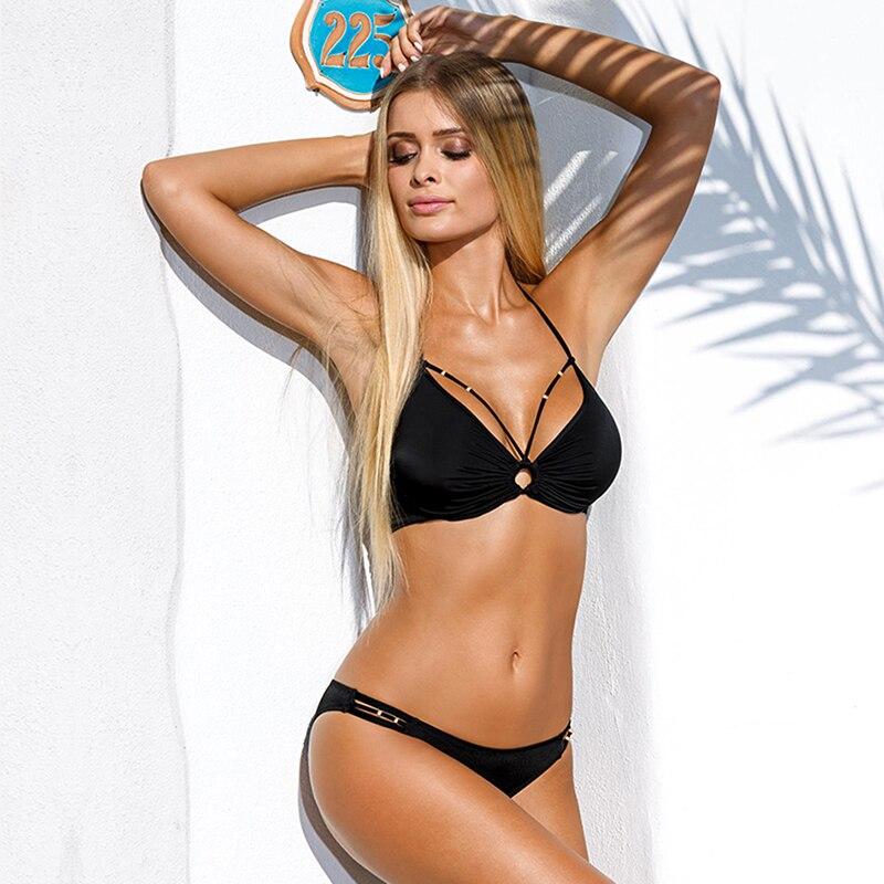 Hot Sale bikini 2017 swimwear women Bandage Bikini Sets Push Up Bra Swimsuit Bathing Suit Brazilian Biqui black swimming suit