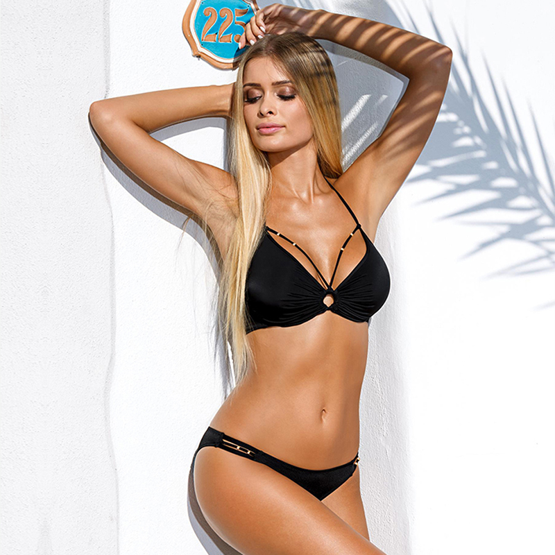 Hot Sale bikini 2017 swimwear women Bandage Bikini Sets Push Up Bra Swimsuit Bathing Suit Brazilian Biqui black swimming suit
