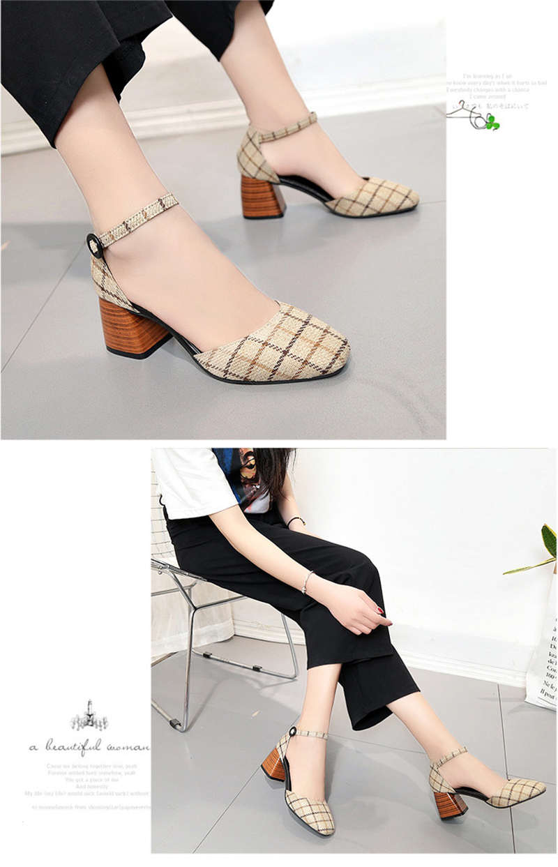 High Heels Shoes Women Pumps Square Toe Summer Sandals Thick Heels Plaid Casual Good Quality Female Office Shoes Comfortable 12