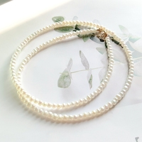 LiiJi Unique Natural Tiny Real Freshwater Pearl 925 Sterling Silver Yellow Gold Color Elegant Necklace Nice