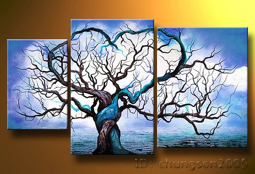 Framed tree painting on decorative canvas for living for Cheap 3 piece living room sets
