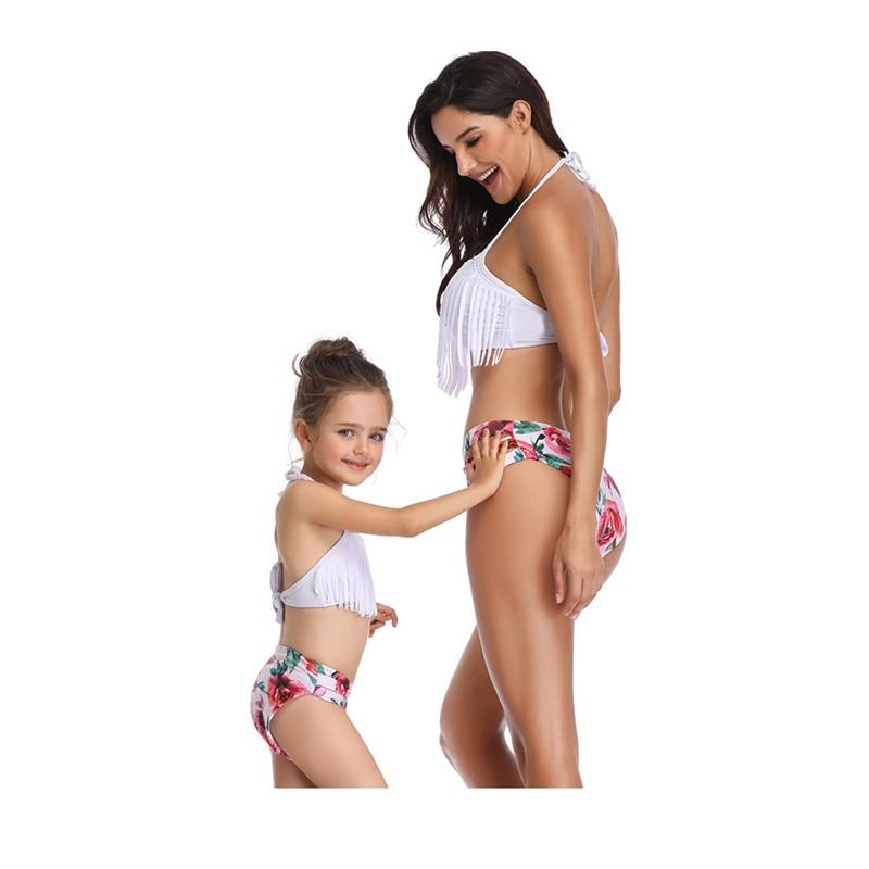 Family Matching Swimwear Mother Daughter Taseel Bikini Bathing Suit Brachwear Swimwear Family Matching Outfits Mom Kids Swimsuit (3)
