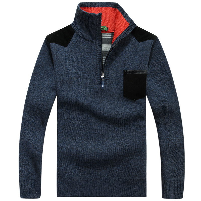 Winter New Men's Warm Thick Sweater 1/4 Zip Fleece Pullover Jacket Velvet Cashmere Sweaters Man Casual Knitwear Clothing