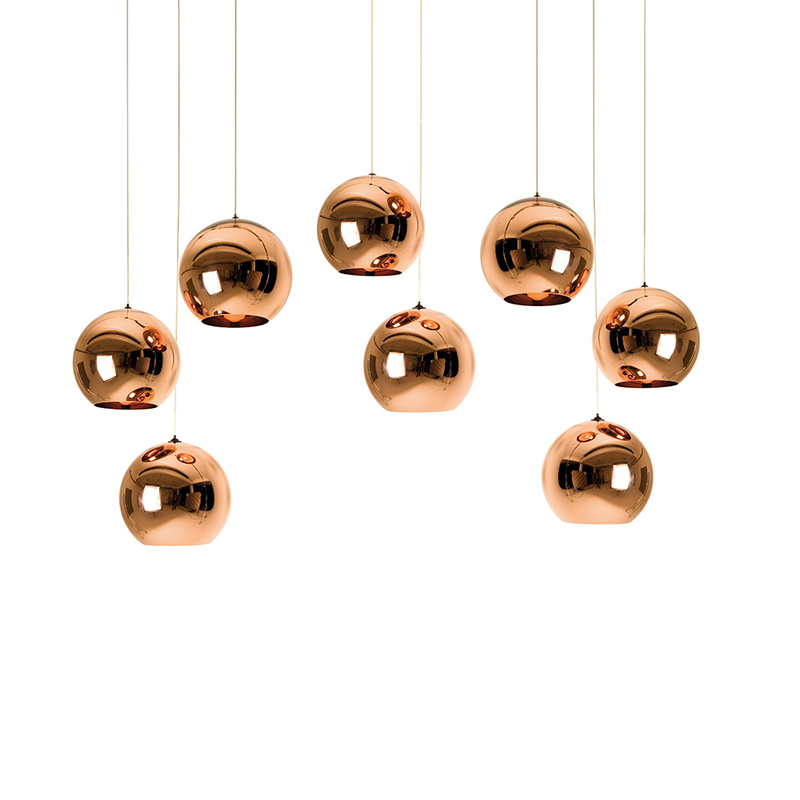 IKVVT Modern Glass Ball Pendant Lamp Copper Chrome Golden Mirror Ball Lights for Restaurant Parlor Bedroom Indoor Decoration