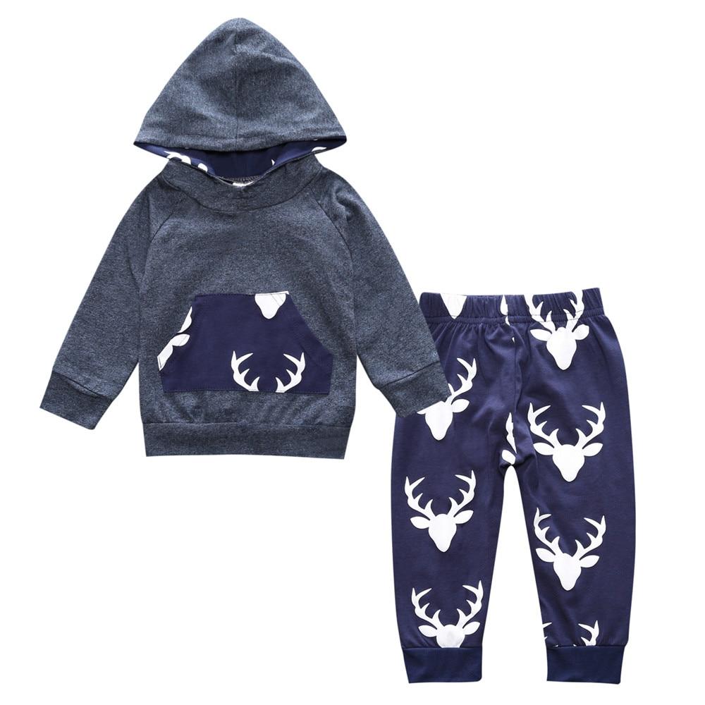Baby Boys Girls Clothes Set Suits Warm Deer Tops Hoodie T shirt Leggings Pants Cute Animals