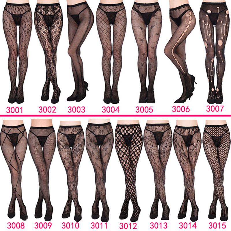 Hot Women Sexy Lingerie Stripe Lace Elastic Stockings Transparent Black Fishnet Stocking Thigh Sheer Tights Embroidery Pantyhose
