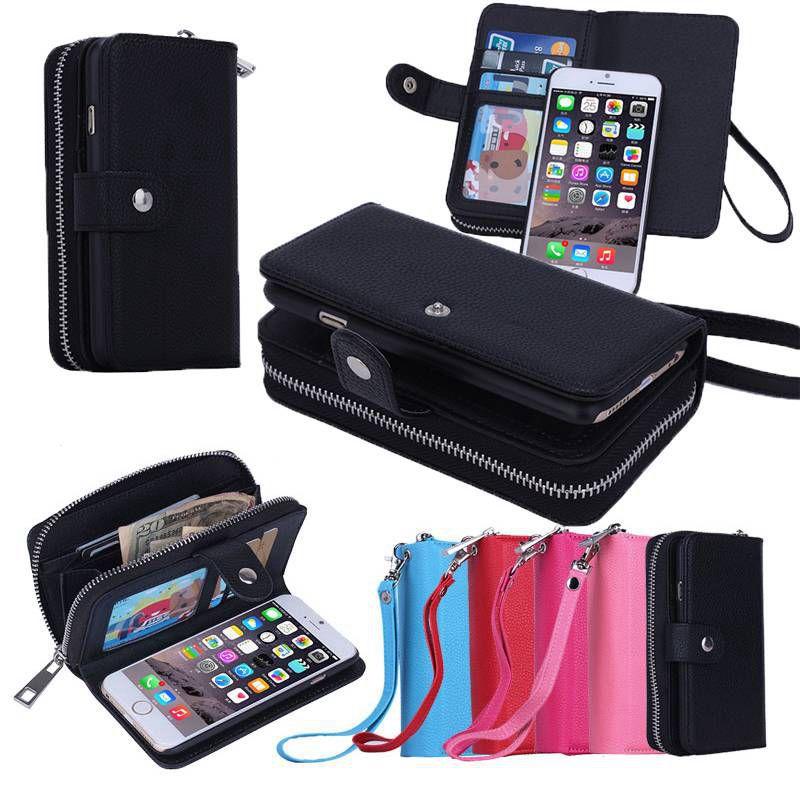 """imágenes para Multifunción Monedero Cuero Funda para iPhone 6 Plus/6 S Plus 5.5 """"cremallera Del Monedero de La Bolsa para iPhone6 Plus Cajas Del Teléfono Cubierta"""