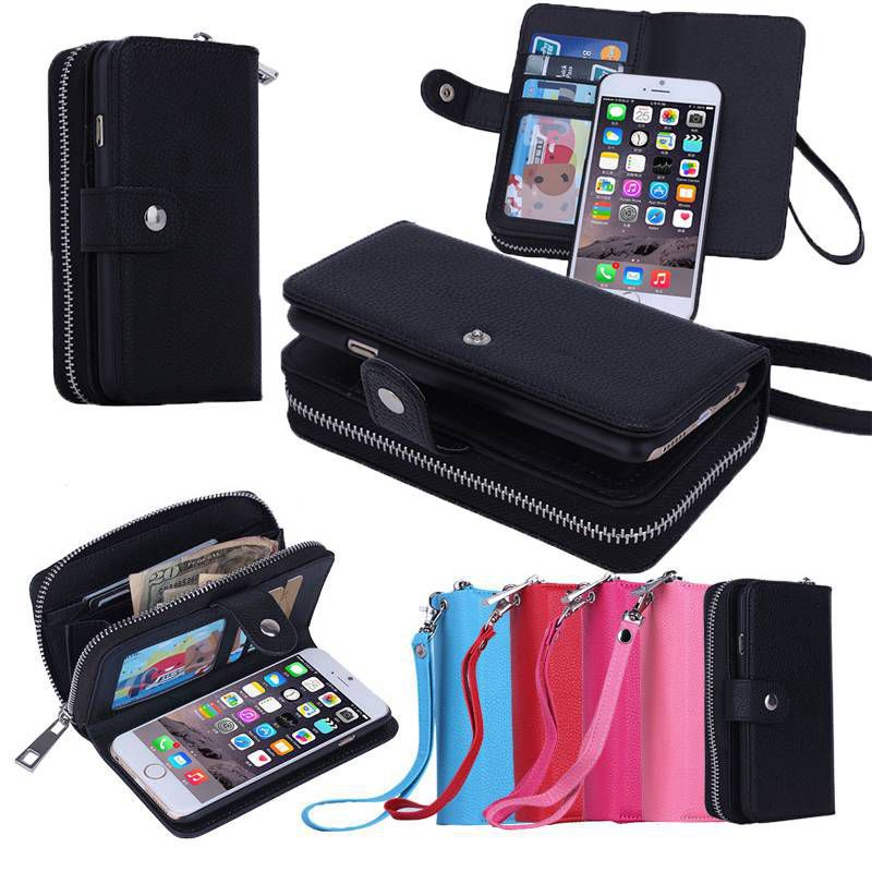 """Цена за Многофункциональный Бумажник Кожаный Чехол для iPhone 6 Плюс/6 S Плюс 5.5 """"молния Кошелек Чехол для iPhone6 Плюс Телефон Случаях Обложка"""