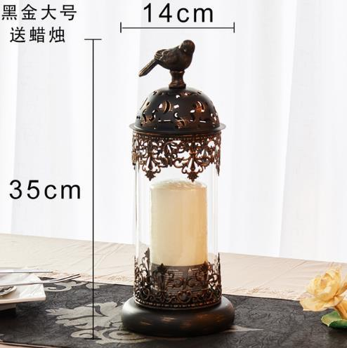 1pcs BirdCage Iron Candlestick Holder Glass Home Decor 2