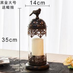 Image 3 - 1 pçs birdcage ferro castiçal suporte de vela de vidro lanterna europa marroquino oco castiçal suporte casa decoração do casamento