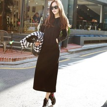 Autumn and winter casual hooded long paragraph sweater cashmere thickened long sleeved women plus thin slim Hoodie dress.