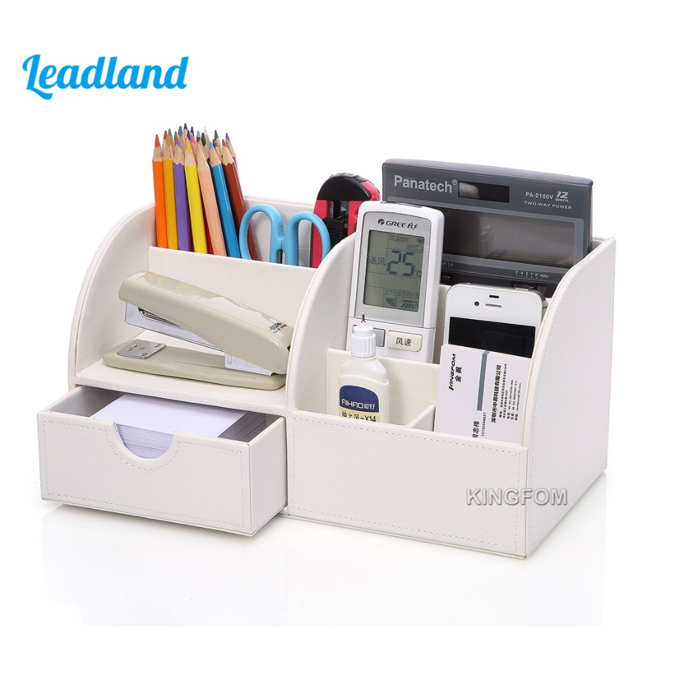 5-Slot Office Desktop PU Leather Storage Box Case Organizer Pen Holder Stationery Container For Office School Study cute cat pen holders multifunctional storage wooden cosmetic storage box memo box penholder gift office organizer school supplie