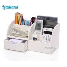 Caja de almacenamiento de cuero PU con 6 compartimentos para guardar bolígrafos, organizador de Escritorio de oficina, contenedor de papelería, soporte para lápiz