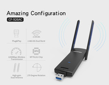 COMFAST usb wifi adapter 1200mbps 802.11ac/b/g/n 2.4Ghz + 5.8Ghz Twin Band wi-fi dongle laptop AC Community Card USB antenna
