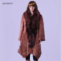 Зимнее пальто из натурального меха кролика, воротник из лисьего меха большого размера, шуба из кроличьего меха, юбка с лисьим воротником, Св