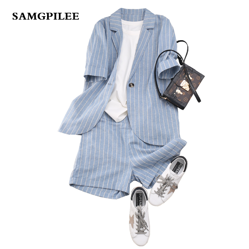 2020 Sale New Short Sleeve Casual Single Turn-down Collar Elastic Waist Above Knee, Mini Striped Women Set Plus Size
