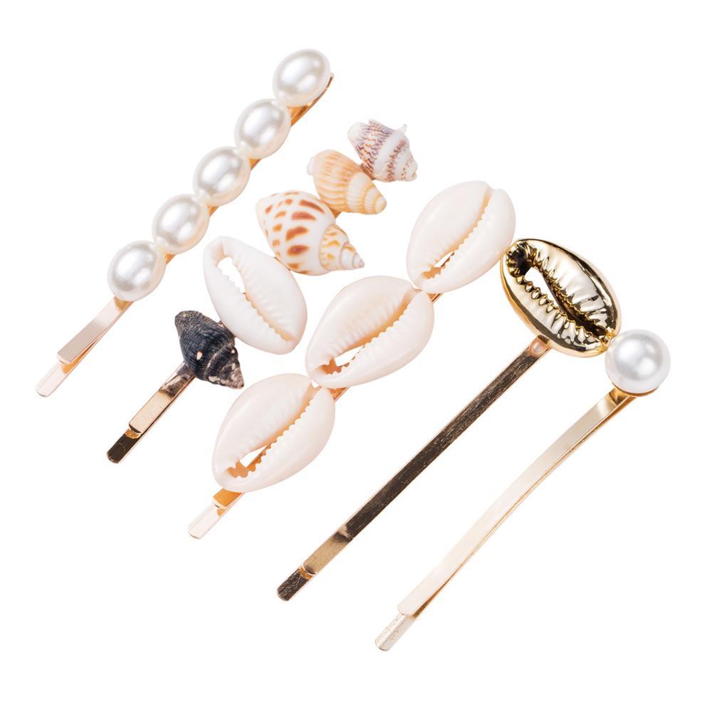 Hair-Pins Barrettes Jewelry Seashells Clip-Hair Girl Women for Female 5pcs/Set