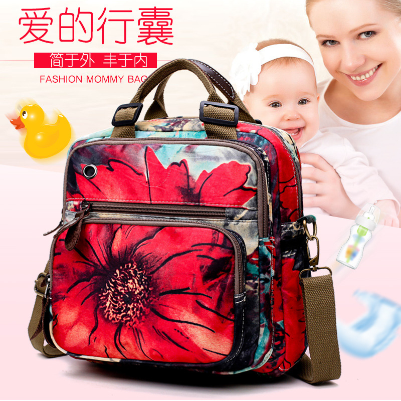 Waterproof Baby Diaper Bag Floral Baby Nappy Tote Bag Backpack Maternity Bags Baby Care Changing Bag for Stroller Hobos baby dining lunch feeding booster seat maternity baby diaper nappy bag multifunction fashion hobos messenger bags for baby care