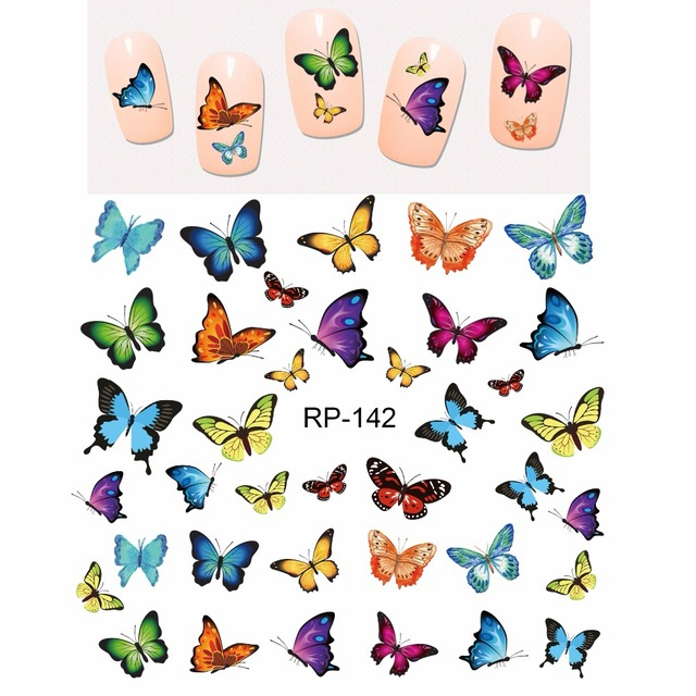 Uprettego Nail Beauty Nail Sticker Water Decal Slider Cartoon Leuke Vlinder Insect RP139 144