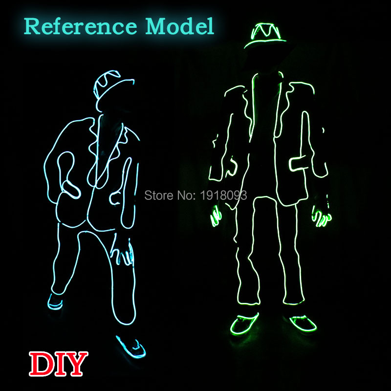 Cold Neon Light EL Wire Suit LED neon rope tube Lights for Festival Decoration Supplies