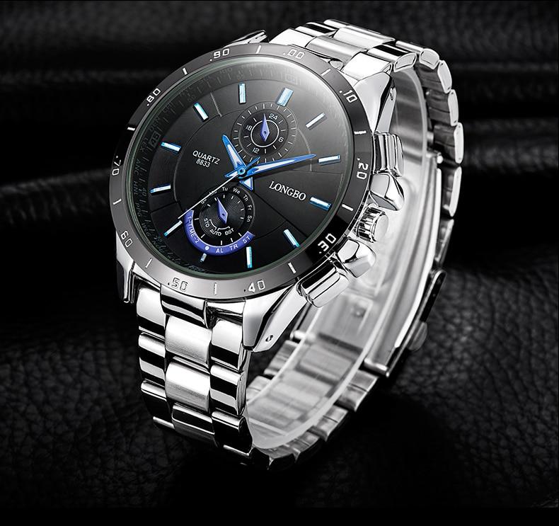 Topdudes.com - LONGBO Sports Fashion Stainless Steel Luminous Waterproof Men's Luxury Quartz Wristwatches