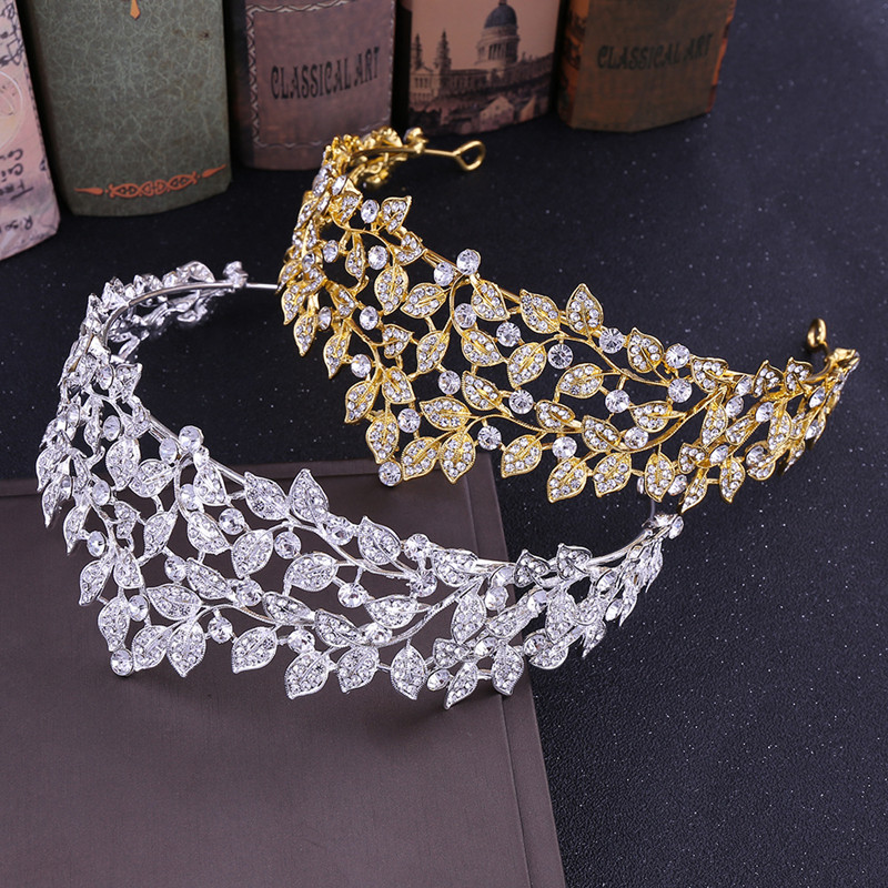 Vintage Baroque Gold/Silver Color Leaf Rhinestone Crystal Bride Diadem Wedding Tiaras and Crown Hair Accessories Head Jewelry VL|Hair Jewelry|   - title=