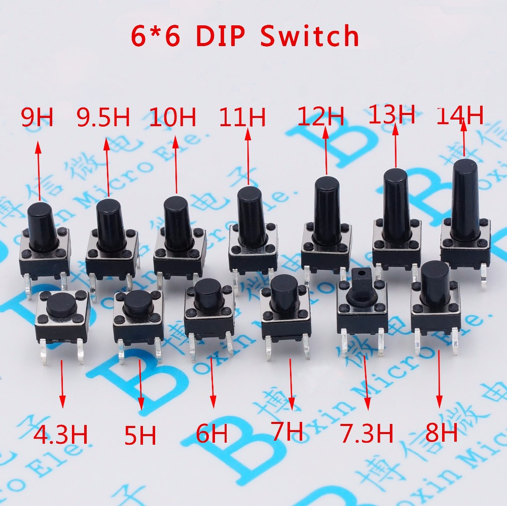 100pcs/lot Touch Key Micro Switch 6 * 6 * 4.3/5/6/7/8/9/10/11/12/13 MM Button 4 Pin Vertical DIP Sets