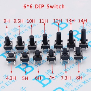 100pcs/lot Touch Key Micro Switch 6 * 6 * 4.3/5/6/7/8/9/10/11/12/13 MM Button 4 pin vertical DIP sets(China)