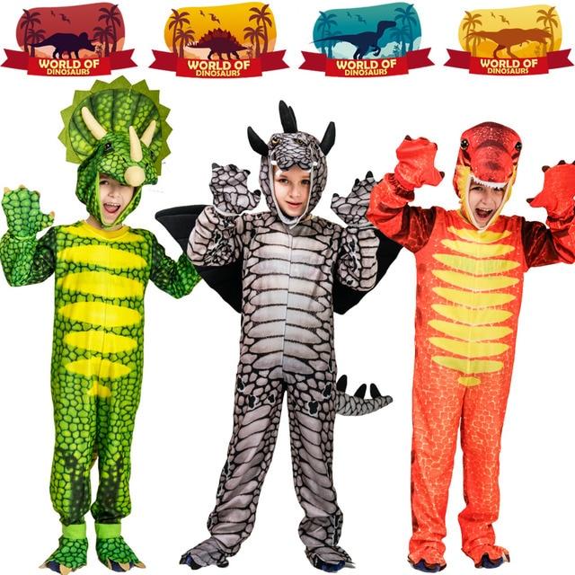 Kids Dinosaur Triceratops/Tyrannosaurus/Stegosaurus Costume Cosplay Mascot Animal Clothes Role Play for Halloween Party