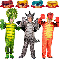 Kids Dinosaur Triceratops/Tyrannosaurus/Stegosaurus Costume Cosplay Jurassic Park Animal Clothes Role Play for Halloween Party