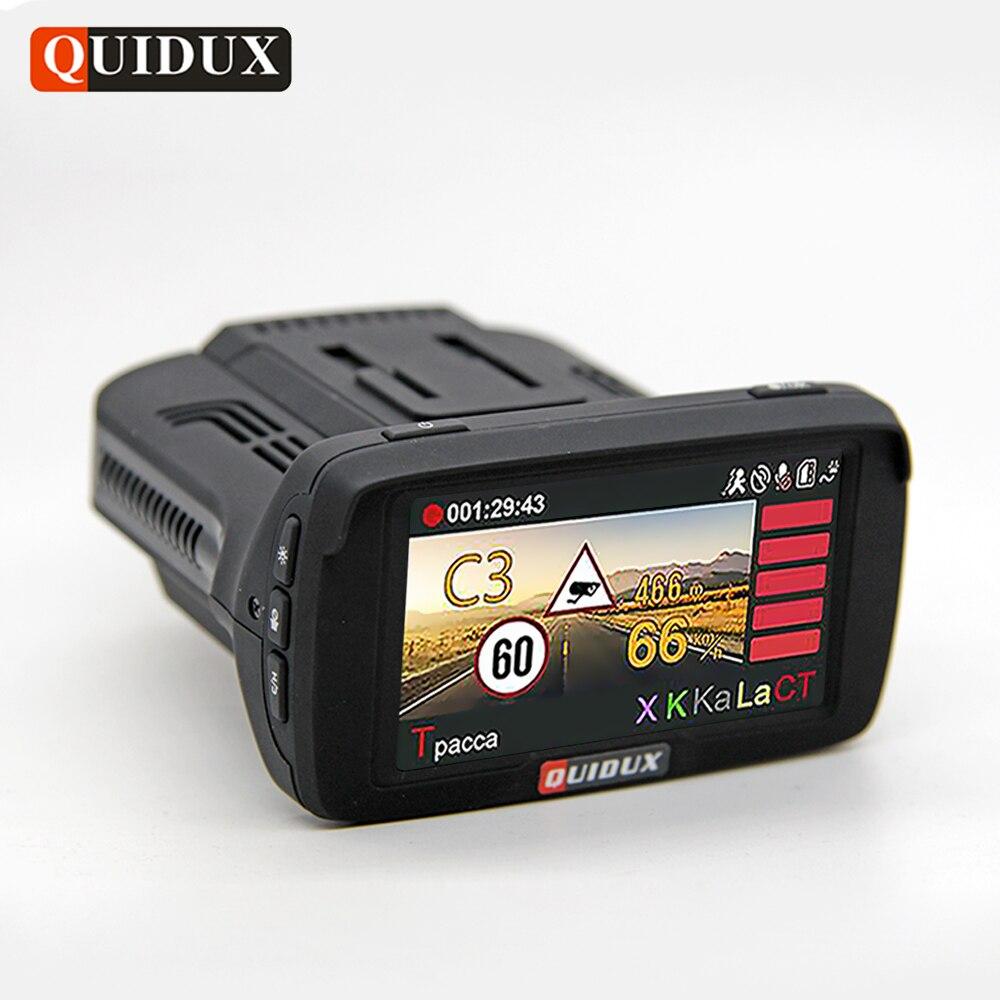 QUIDUX Russian Radar Detector 3 In 1 CAR DVR GPS Logger Full HD 1296P Video Camera