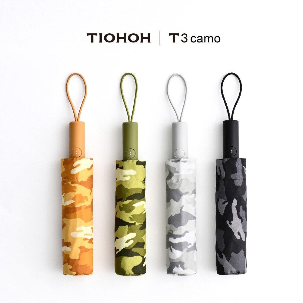Tiohoh Military Camo Automatic Umbrella Men Women 190T Teflon Pongee Cloth Outdoor Travel Folding Rain Umbrellas