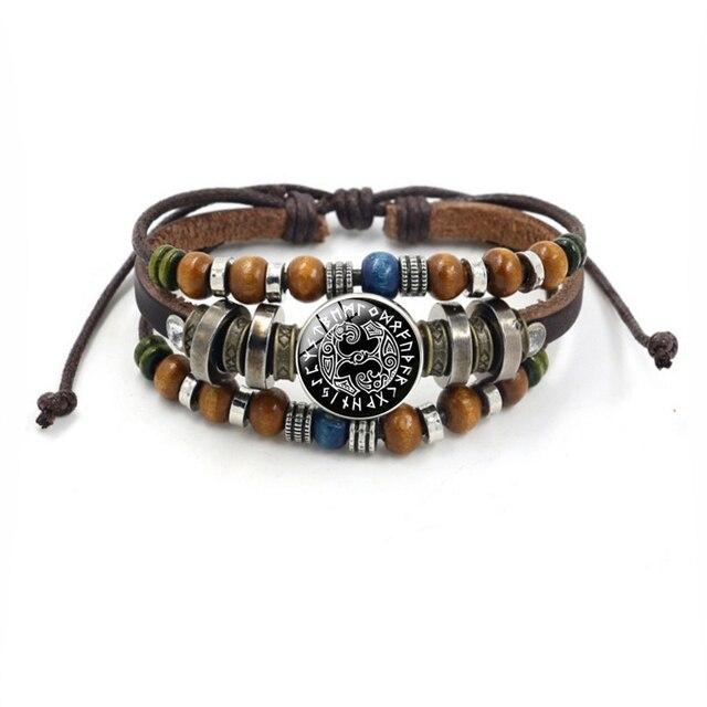 Bracelet Viking perles multicouche en cuir corde verre dôme 3