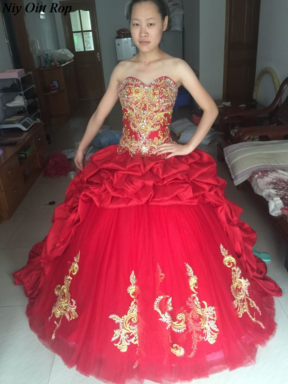56d7fd4f1eb Wine Red And Gold Quinceanera Dresses