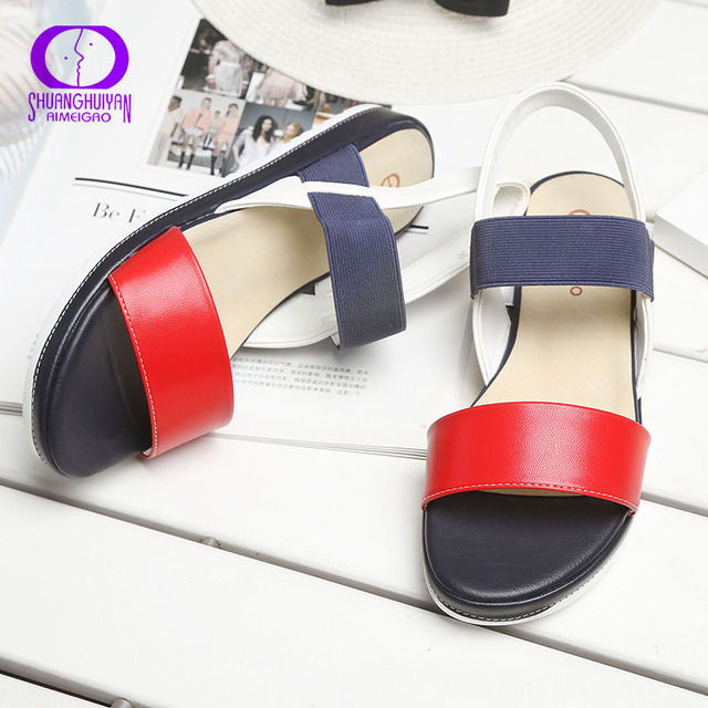 2017 New Open Toe Flat Women Sandals Comfortable Summer Genuine Pu Leather Flat Women Sandal Shoes Roman Mujer Sandalias Ladies