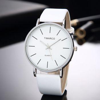 Prosty styl białe skórzane zegarki kobiety moda zegarek minimalistyczny panie Casual Wrist Watch kobieta zegar kwarcowy Reloj Mujer 2019 tanie i dobre opinie CANSNOW QUARTZ Nie wodoodporne Klamra Moda casual STAINLESS STEEL Nie pakiet Brak Skóra 40mm TMC341 24cm Szkło 20mm