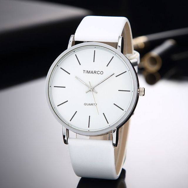 Simple Style White Leather Watches Women Fashion Watch Minimalist Ladies Casual