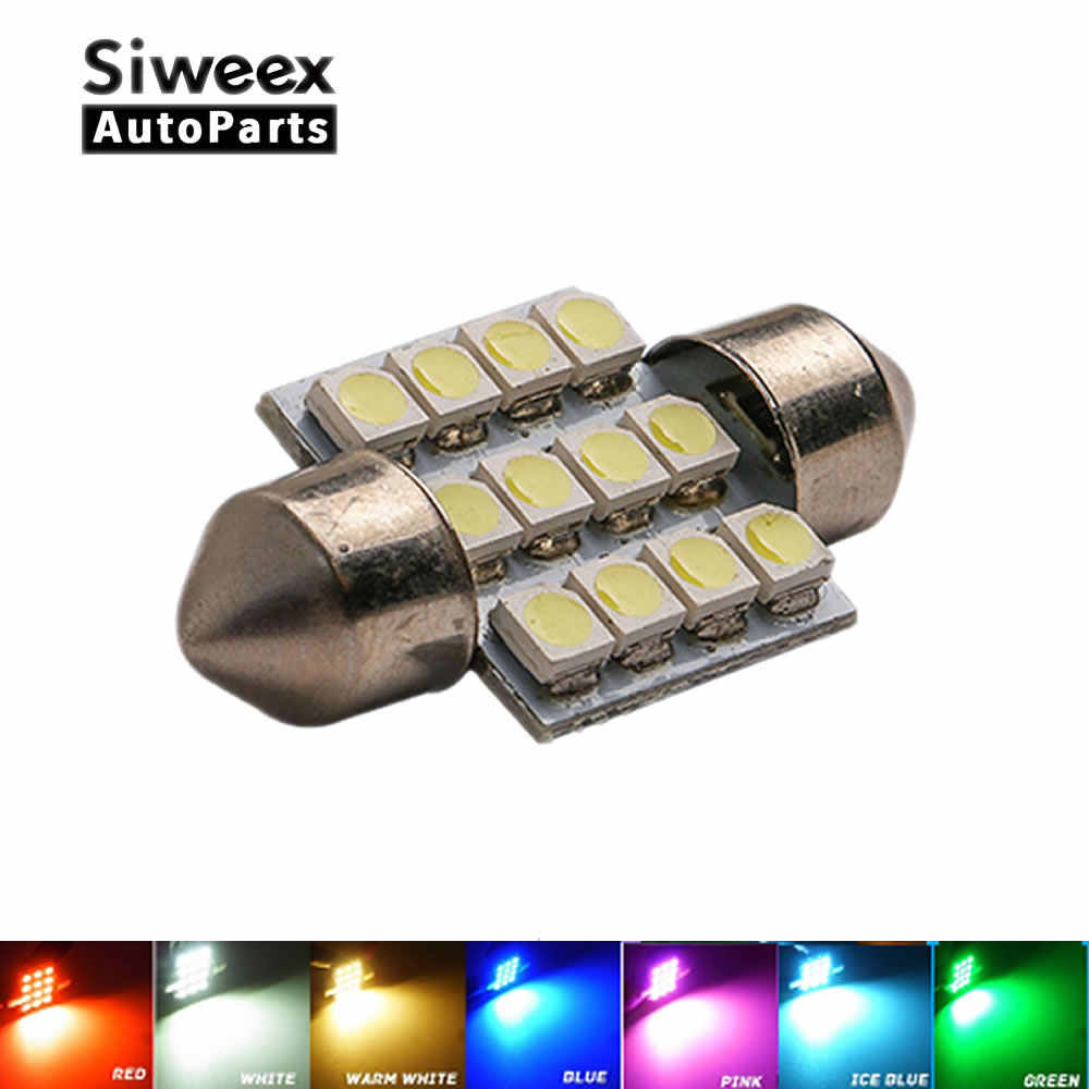 31mm 3528 1210 SMD 12 LED Car Auto Festoon Dome Interior Map Lights Bulb Lamp for DC 12V Blue Green Red Ice Blue White