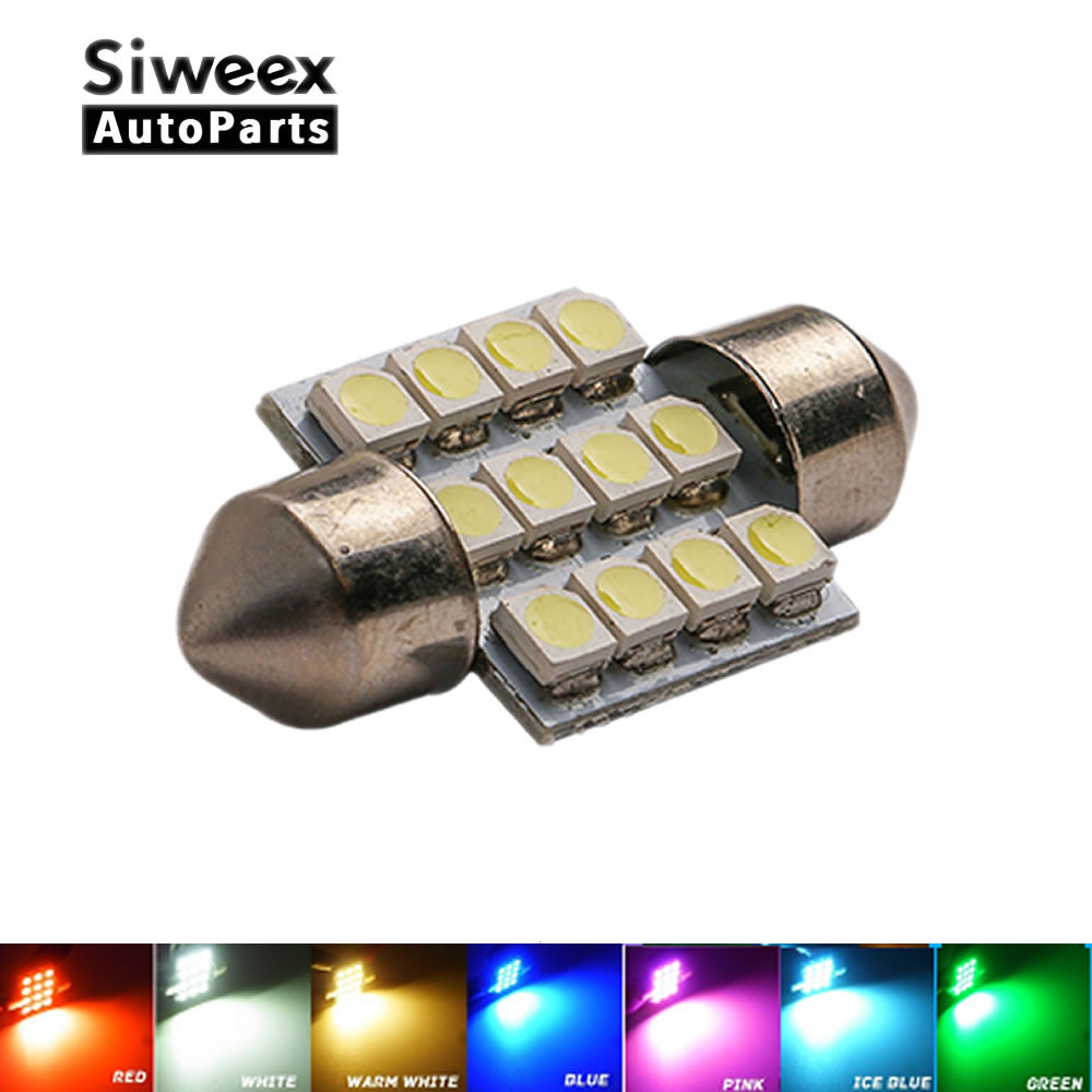 31mm 3528 1210 SMD 12 LED Car Auto Festoon Dome Interior Map Lights Bulb Lamp for DC 12V Blue Green Red Ice Blue White 2pcs white red blue t10 24 smd cob led panel car auto interior reading map lamp bulb light dome festoon ba9s 3adapter dc 12v led
