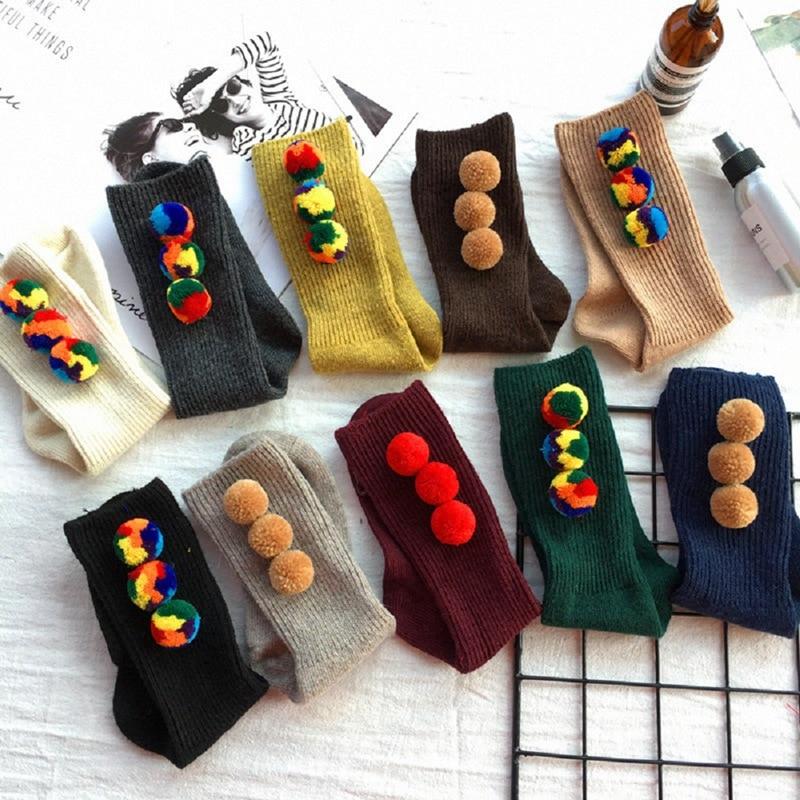 1 Pair Women's Girls Fashion Pom Pom Socks Womens Colorful Winter Wool Warm Thick Fluffy Knee-High Casual Chic Socks SYT9554
