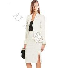 Women Skirt Suits Two Piece Set Elegant Business Skirt Suits Long Sleeve Ivory Female Office Uniform Ladies Formal OL Work Wear