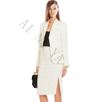 Women Skirt Suits Two Piece Set Elegant Business Skirt Suits Long Sleeve Ivory Female Office Uniform Ladies Formal OL Work Wear