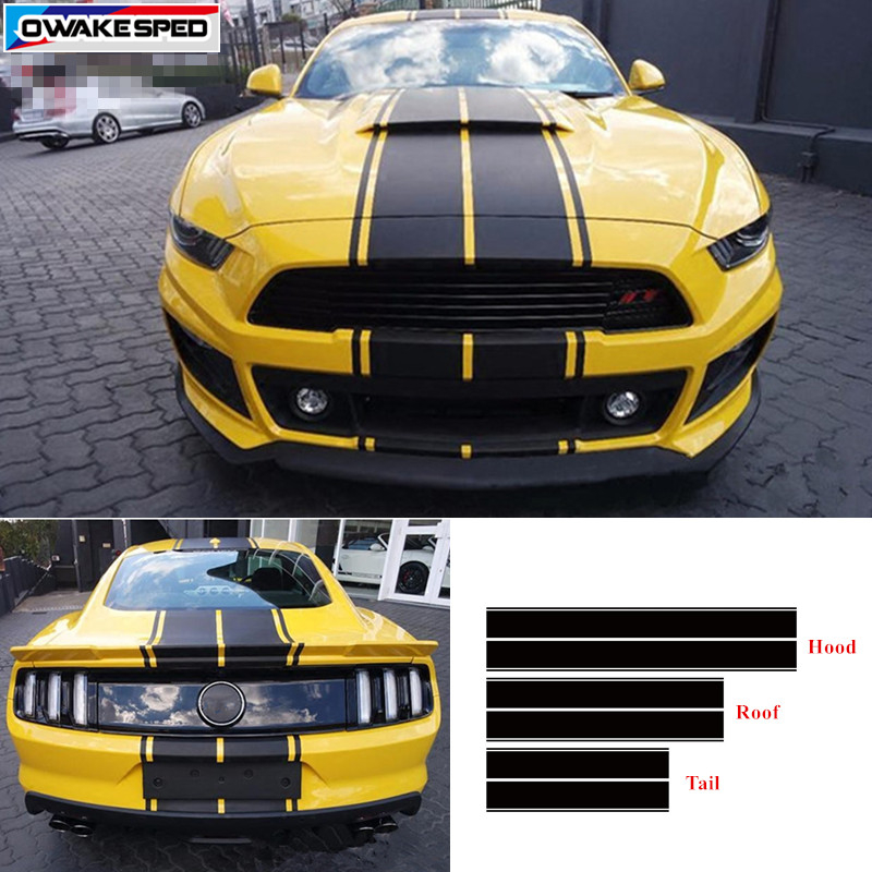 Racing Sport Styling Stripes Vinyl Decal For Ford Mustang GT Car Hood Roof Tail Whole Sticker Auto Body Decor Decals Ford Mustang