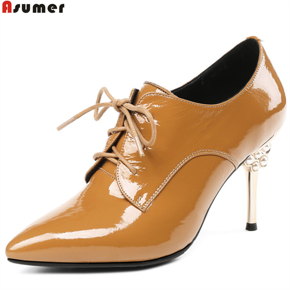 ASUMER black yellow fashion spring autumn ladies pumps pointed toe lace up dress shoes women cow patent leather high heels shoes hee grand sweet patent leather women oxfords shoes for spring pointed toe platform low heels pumps brogue shoes woman xwd6447