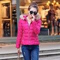 2015 Nueva Mujer de Down Chaquetas de Invierno Ladies Wadded Cuello de Piel Delgada Corto Abrigos Mujer Warm Nieve Parkas prendas de Vestir Exteriores Más Tamaño