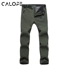 CALOFE Men Ski Pants Thick Windproof Warm Fleece Softshell Pants Fishing Camping Hiking Skiing Trousers Waterproof Windproof