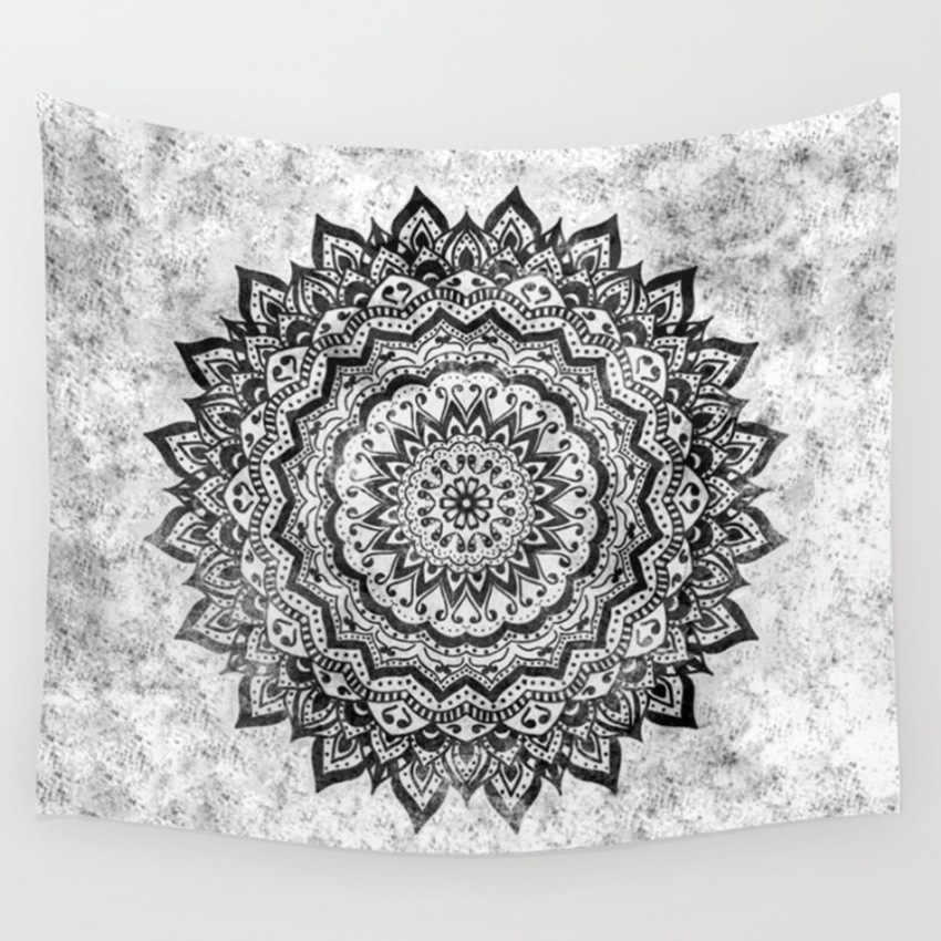 CAMMITEVER Flower Ring Circle Mandala Tapestry Purple Grey Colorful Black White Living Room Bedroom Dorm Home Decorations