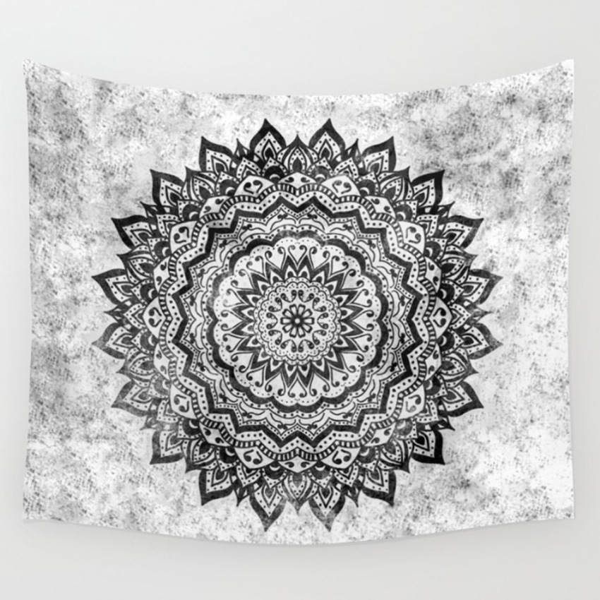 CAMMITEVER Flower Ring Circle Mandala Tapestry Purple Grey Colorful Black White Living Room Bedroom Dorm Home
