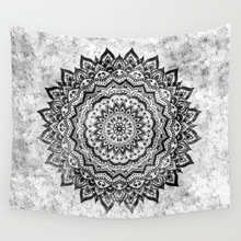 Cammitever Bloem Ring Cirkel Mandala Tapestry Paars Grijs Kleurrijke Zwart Wit Woonkamer Slaapkamer Dorm Home Decorations